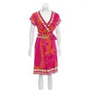 DVF Nalia Silk Wrap Dress Magenta Multicolor 10